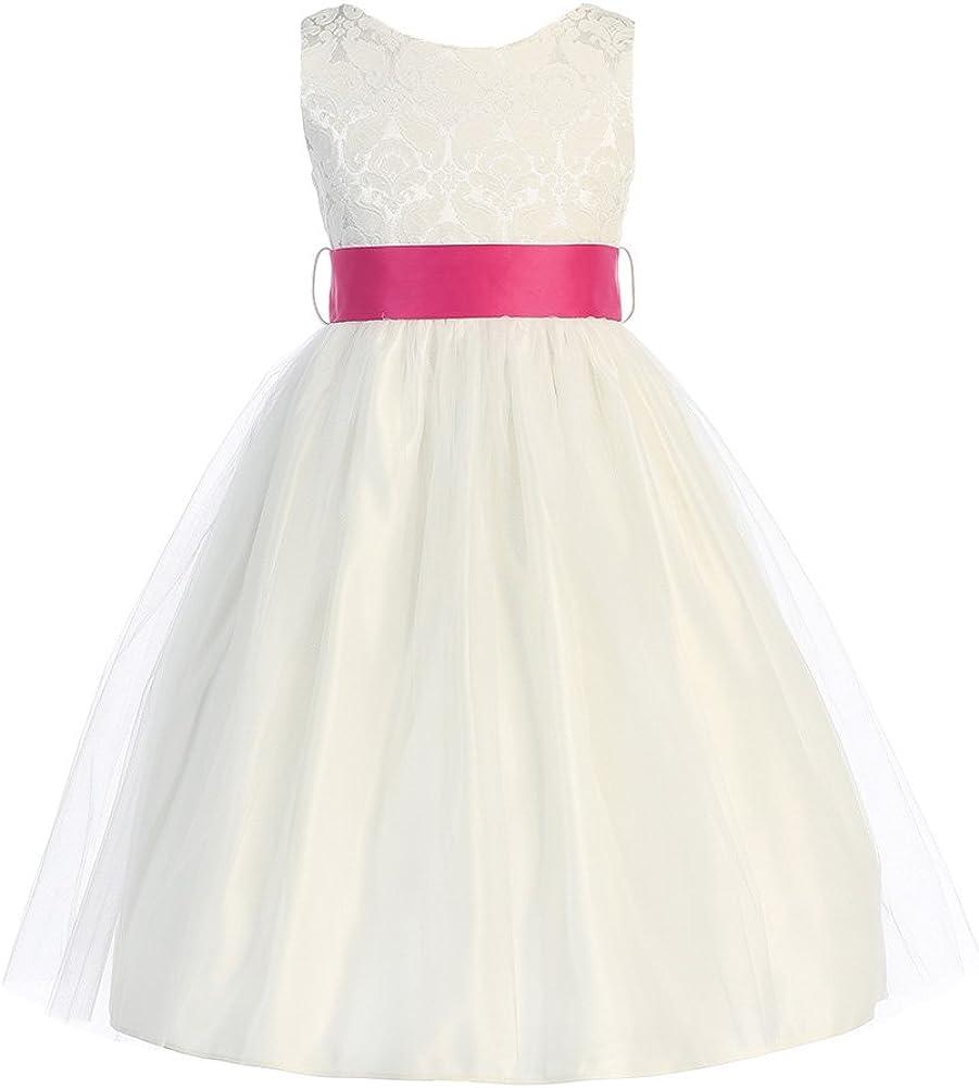 Sweet Kids Girls Jacquard & Tulle Dress ~ Off Wht Plat Grey (Sk 394)