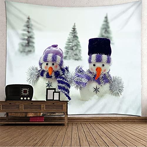 KnBoB Tapiz Decorativo Pared 2 Muñecos de Nieve con Gorro de Punto 260 x 240 CM Tejido Poliéster Impermeable Decoracion Hogar
