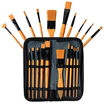 CONDA Paint Brushes Set Ergonomic Professional Wood Handles with Organizing Case for Acrylic Oil Watercolor, Rock Painting