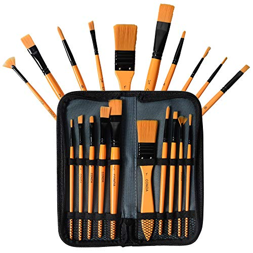 CONDA Artist Paintbrush Set 10Pcs Brushes with Carrying Case for Beginners, Students, Professionals and Artists
