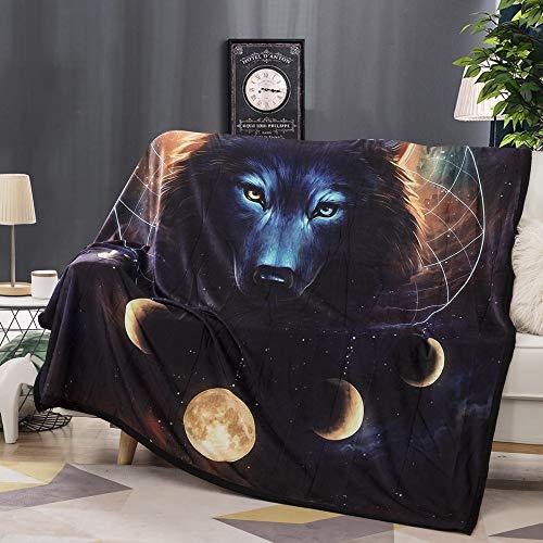 Fansu Kuscheldecke Flanell Fleecedecke, 3D Wolf Löwe Elch Flauschige Weich & Warm Microfaser Leichte Plüsch Wohndecke Sofadecke/Tagesdecke für Sofa & Bett (150x200cm,Kosmischer Wolf)