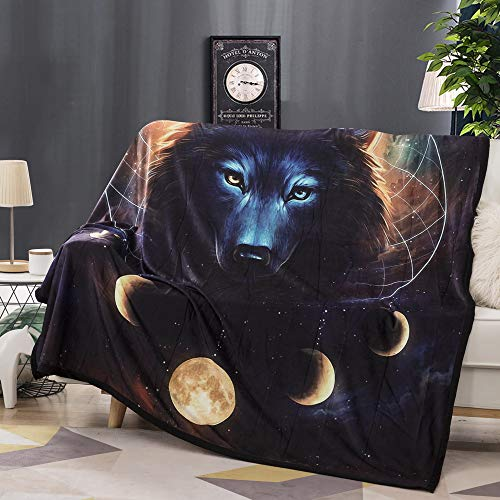 Fansu Kuscheldecke Flanell Fleecedecke, 3D Wolf Löwe Elch Flauschige Weich und Warm Microfaser Leichte Plüsch Wohndecke Sofadecke/Tagesdecke für Sofa und Bett (150x200cm,Kosmischer Wolf)