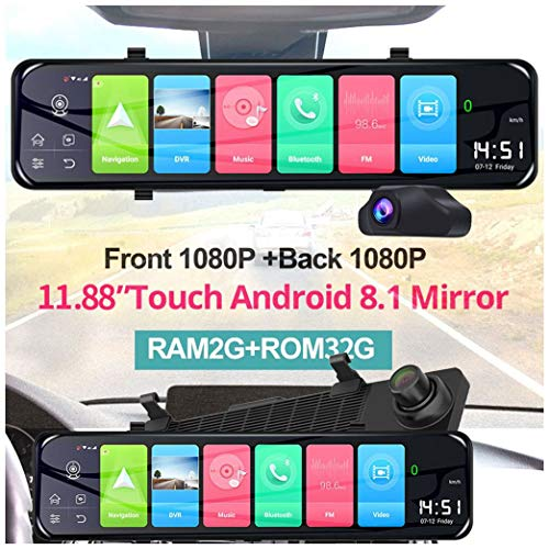 Fulltime 12 Zoll 4G Android 8.1 Quad Core Auto DVR Kamera GPS Navigation Dual Lens Rückspiegel Dashcam Bluetooth FM Transmitter Digital Video Recorder