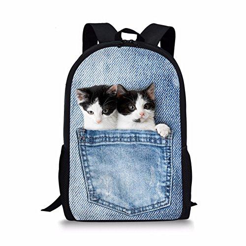 hugsidea bolsillo gatos patrón de mochila escolar para niños Lovely animales libro bolsas para adolescentes Niñas Niños