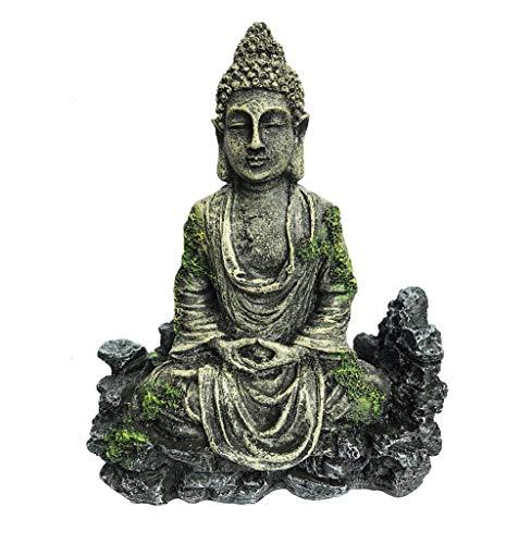 XiR Fish Tank Buddha Sitting Statue Aquarium Decorations Reptiles Tank Ornament