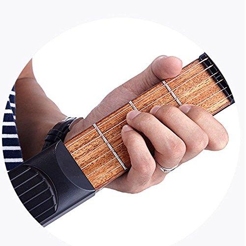 Portable Wooden Pocket Guitar Finger Exercise Practice Tool Gadget 6 String 6 Fret Chord Trainer