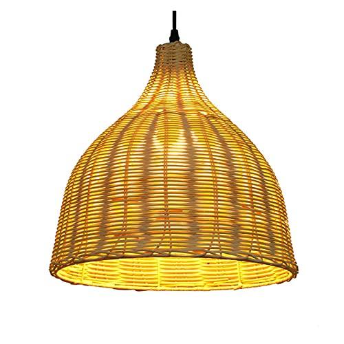 YAN FEI Lámpara de araña de ratán, estilo japonés, estilo sudeste asiático, creativa casita pastoral, restaurante o té, habitación de bambú, tejido de ratán, tamaño S