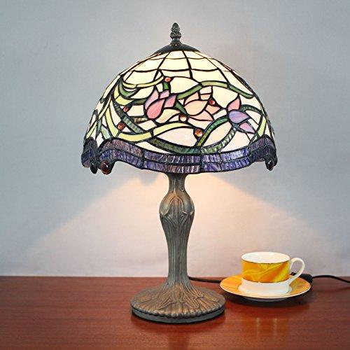 12 Pouces Vintage Pastoral Tulip Vitrail Tiffany Style Table Lampe De Chambre Lampe De Chevet
