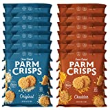 Contains 6 - 0.63 Ounce Bags of Original Parmesan and 6 - 0.63 Ounce Bags of Cheddar Flavored ParmCrisps ParmCrisps are artisan-crafted, crunchy crisps made of 100% Aged Parmesan cheese and premium seasonings. Oven-baked in small batches, ParmCrisps ...