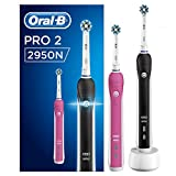 Oral-B 2950N Pro 2 - Cepillo Eléctrico Recargable, con Tecnología de Braun, 2 Mangos, 2 Modos Incluyendo Cuidado de las Encías, 2 Cabezales CrossAction de Recambio
