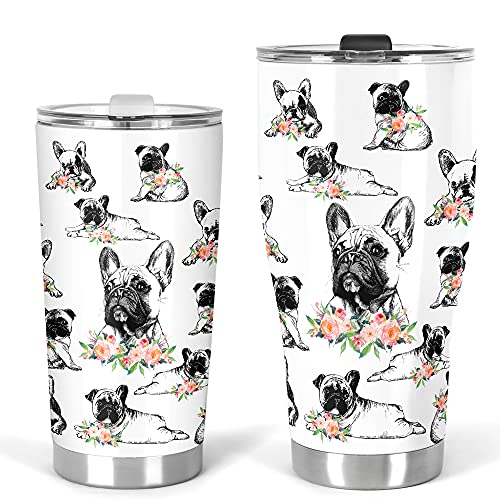 Frenchie Lovers White2 Stainless Steel Tumbler 20 Oz 30 Oz Vacuum Insulated Travel Mug with Lid and Straws, for Ice Drink, Hot Beverage