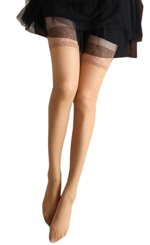 (ビグッド)Bigood レディース ガーター用ストッキング 網タイツ レース ランジェリー ストッキング ニーハイソックス 女性用 インナー 下着 靴下(肌色)