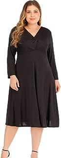 Long Sleeve V Neck Dress for Women Plus Size Elegant Black Dress Ruched A Line Dress,4XL