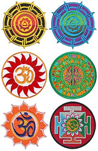 Wakapu Roue Magique Du Soleil Patchs Ensemble De Sixième Psychédélique Art Yoga Coudre Symbole Raccommodage Brodé Hippie Fumeur