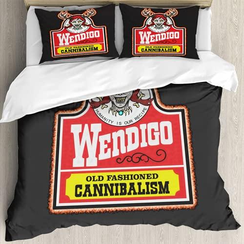 Wendy el Wendigo - Juego de cama king size con impresión 3D de dibujos animados de dibujos animados de 3 piezas, juegos de edredón 1 funda 2 fundas de almohada, 68 x 90 pulgadas