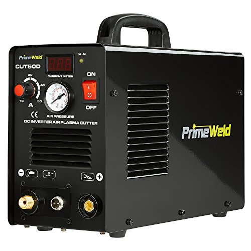 PrimeWeld 50A Air Inverter Plasma Cutter, Portable Plasma Cutting Machine, Premium and Rugged Plasma Cutter Kit, Automatic Dual Voltage 110V/220V AC with Plasma Torch, 1/2
