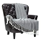Chanasya Chevron Super Soft Acrylic Throw Blanket with Tassels - Warm Cozy Lightweight Fluffy Woven Blanket for Bed Sofa Chair Couch Living Bed Room Black and White Blanket (50x65 Inches) Black