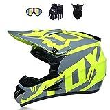 グリーングレーモトクロスヘルメットゴーグルグローブオートバイ電気自動車ATVオフロードヘルメットMTBユニセックスフルフェイスヘルメットクラッシュ円周52〜60センチメートルマスク