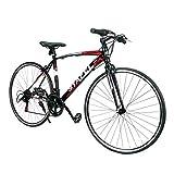 クロスバイク 自転車 700*25C シマノ製14段変速 超軽量高炭素鋼フレーム 前後キャリパーブレーキ ワイヤ錠・ライトのプレゼント付き マウンテンバイク ブラック 02BK