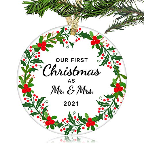NURIONSS Our First Christmas as Mr & Mrs Ornaments 2020 - Christmas Wedding Decoration Gift for Couple Married Newlyweds - 2.85' Ceramic Ornament(Mr & Mrs 5)