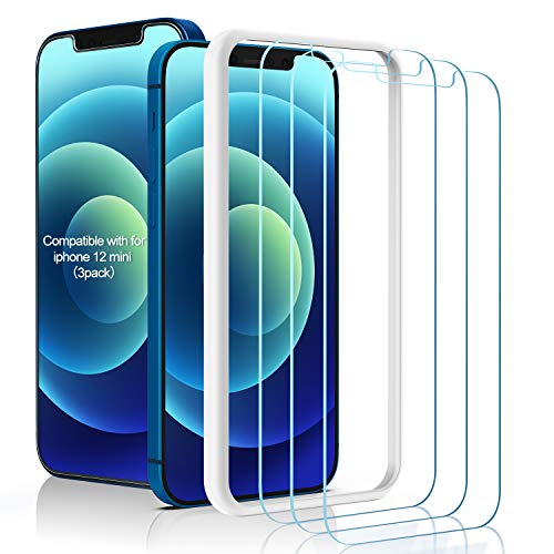 """(3 Pack) Amuoc Tempered Glass Screen Protector Compatible for iPhone 12 Mini (5.4""""), with (Easy Installation Tray) Anti Scratch, Bubble Free"""