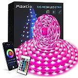 Bluetooth 5M Tiras Led RGB, Maxcio Tira de Luces led Iluminación con Control Remoto, Control de APP, Tiras luces Led RGB 5050 Musical para Habitación, Decorativas, Fiestas, Navidad