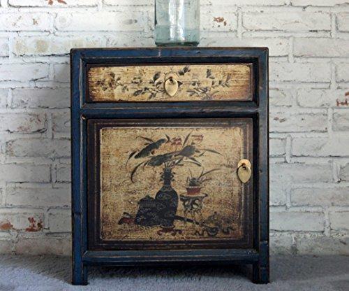 Comodino cassettiera armadietto piccolo comò cinese vintage shabby orientale legno