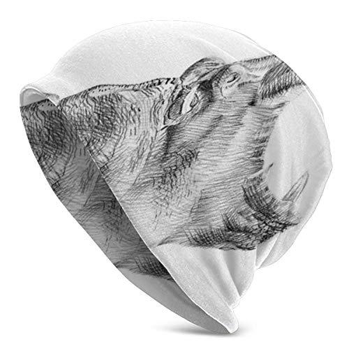 Peeeenny Beeen Gorro Hombres Mujeres - Dibujado a Mano Dibujo a Lápiz Estilo Imagen Digital Retrato de hipopótamo Bostezo Figura - Unisex Gorro de Punto Liso con Calavera y Gorro de Punto