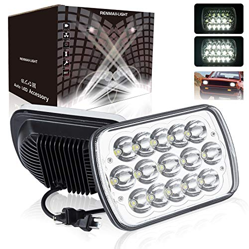 H6054 Led Headlights, 2pcs RENMAII-LIGHT 7x6 LED Headlights 5x7 6054 LED Headlight Hi Low Sealed Beam Headlight Lamp Compatible with Chevy S10 Blazer Express Ford E250 Jeep Wrangler YJ XJ Cherokee