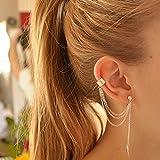 FXmimior Fashion Women Earrings Leaf Plume Pendant Long Chain Drop Dangle Earrings Jewelry (Silver)