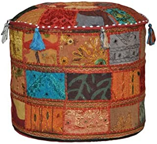 Rajasthali Indian Vintage Ottomaanse verfraaid met borduurwerk & patchwork voetkruk vloerkussen, 46 X 33 cm