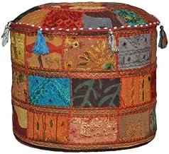 Rajasthali Indiase vintage Ottomaanse versierd met borduurwerk en patchwork voetkruk vloerkussen, 46 x 33 cm