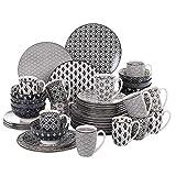 vancasso, série Haruka, Service de Table Porcelaine 48 pièces pour 12 Personnes, en Porcelaine, Assiette Plates, Assiette Creuse, Assiette à Dessert, Bols céréals, Tasses,Style Japonais