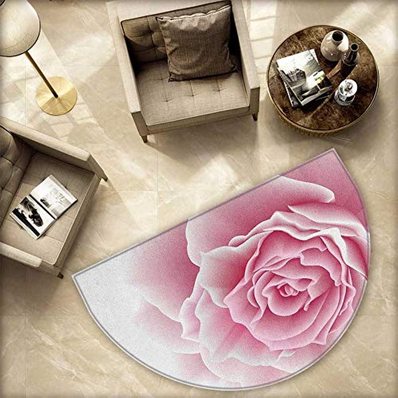 Light Pink Semicircle Doormat Romantic pink Petals Beauty Bouquet Celebration Bridal Romance Wedding Halfmoon doormats H 78.7  xD 118.1  Pale Pink White