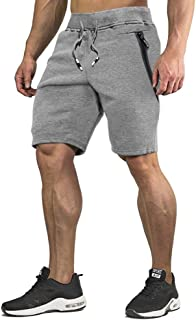 CRYSULLY Men's Cotton Joggers Casual Workout Shorts Running Shorts with Zipper Pockets