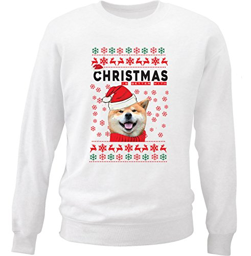 teesquare1st Akita Christmas Better with Akita Felpa di Cotone Bianca Size Large