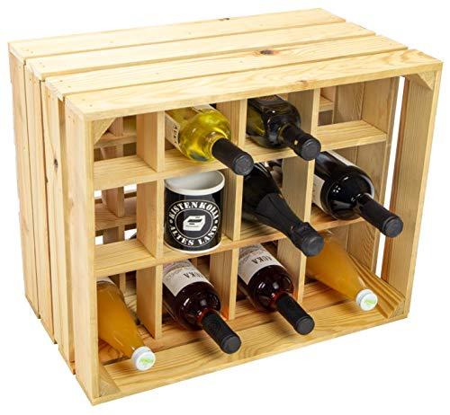 Kistenkolli Altes Land Flaschenregal Henry/Natur/geflammt Maße ca 50x40x30cm Regalkiste Flaschenablage Weinregal Apfelkiste/Weinkiste (Natur)