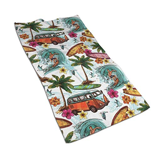 Tyueu Toalla facial hawaiana, toalla de mano, toalla de cocina, plato de diseño 3D, toallas para la cocina, limpieza, cocina, horneado, toalla de lavavajillas 39,7 x 69,8 cm