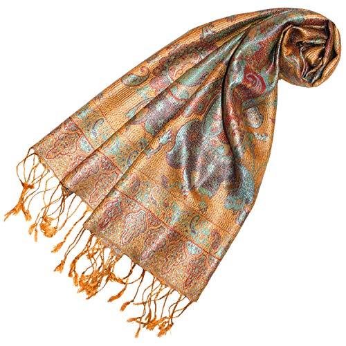 Lorenzo Cana - Luxus Seidenschal Damen Schal 100% Seide jacquard gewebt harmonische Farben mit Fransen 35 cm x 160 cm Paisley Muster Gelb Beige Seidentuch 78247
