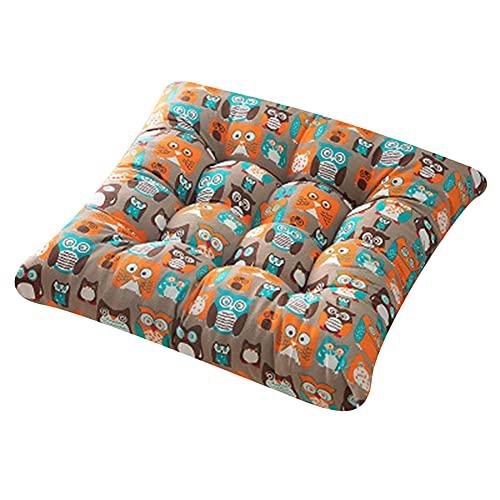 Larew Cojín cuadrado de Tatami para el suelo, cojín de asiento para interiores y exteriores, hermoso jardín, comedor, silla de suelo, cojín suave, yoga, tatami, hogar, oficina, 40 x 40 cm, búho marrón