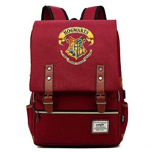 Mochila Harry P, Mochila de Potter de la Universidad de Hogsack, Bolsa de Estudiante de Ocio de la Moda, Logotipo de Color Medio Licor Rojo