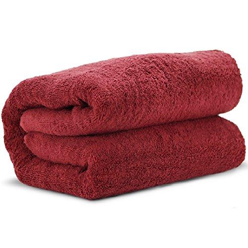 Towel Bazaar 100% Turkish Cotton Multipurpose Towels-Large Bath Sheet/Beach Towel/Bath Towel, Eco-Friendly (Oversized 40x80 inches, Cranberry)