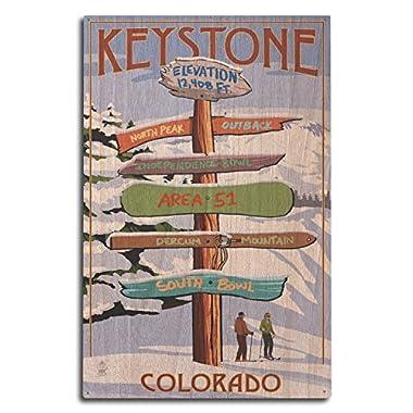 Keystone, Colorado - Ski Destinations Sign (10x15 Wood Wall Sign, Wall Decor Ready to Hang)