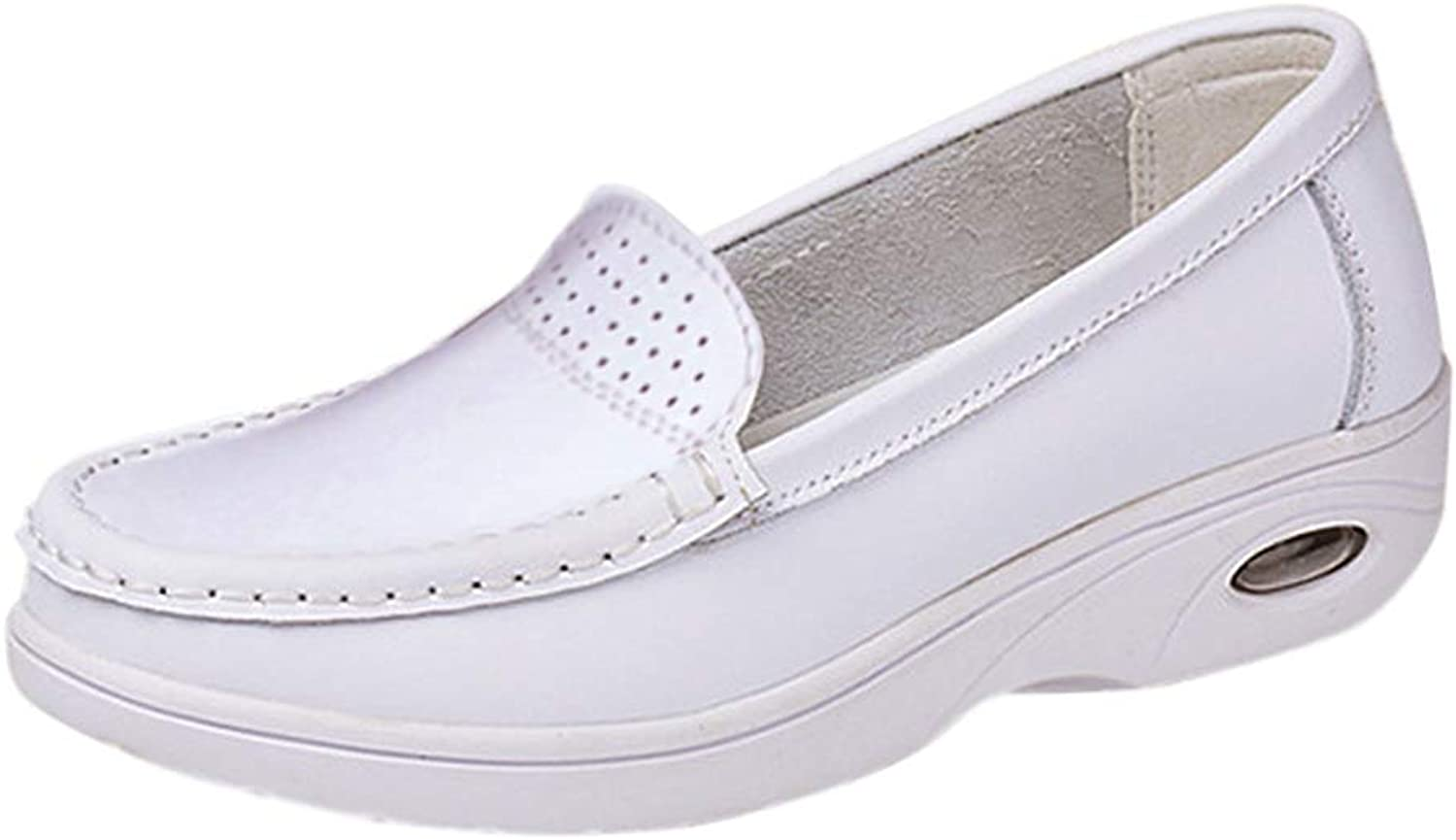 Uirend Leather Nurse shoes Women - Ladies Moccasins Air Cushion Platform Wedge Heel Loafers Flats Comfort Casual Work Driving Boat shoes