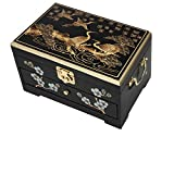 Oriental Wooden Jewelry Box Case Storage with Black Lacquer Mirror by Hand Painted