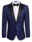 COOFANDY Mens Floral Party Dress Suit Stylish Dinner Jacket Wedding Blazer One Button Tuxdeo, Blue,US M(Chest 44.9)