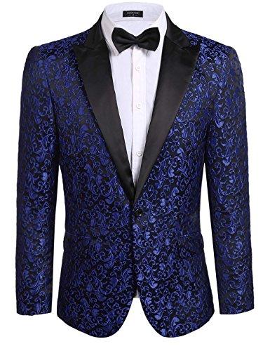 COOFANDY Men's Floral Party Dress Suit Stylish Dinner Jacket Wedding Blazer One Button Tuxdeo,Blue,US XL(Chest 49.6)