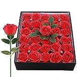 Gomyhom Rose Sapone Rosso Vino, Rose Stabilizzate con Steli e Foglie in Scatola da 30pz, Regalo Donna, Compleanno Anniversario Festa della Mamma Natale Nozze Raduno