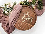 LS Designs Baby Shower Cake Topper Gold Oh Baby 5 1/4 inches x 7 3/4 inches Full Gold Acrylic Baby Shower Girl Baby Shower Boy Cake Topper Gender Reveal Cake Topper