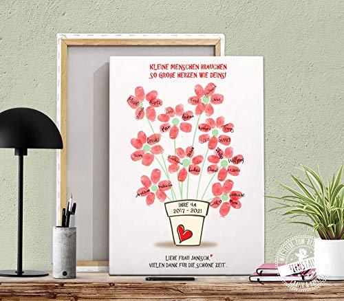 Abschiedsgeschenk für Lehrerin Erzieherin Kindergarten Schule Fingerabdruck Prints individuell